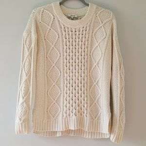 Madewell Classic Cable Pullover Sweater Cream